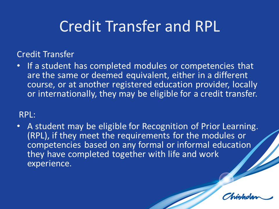 Credit Transfer and RPL