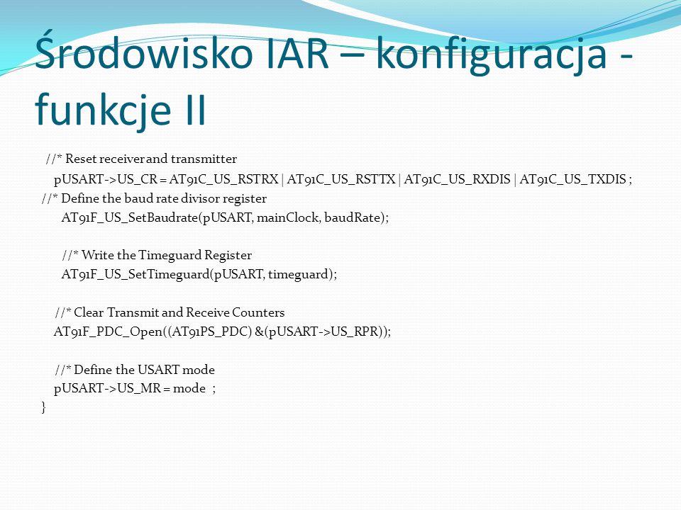 Środowisko IAR – konfiguracja - funkcje II