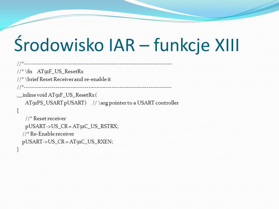Środowisko IAR – funkcje XIII