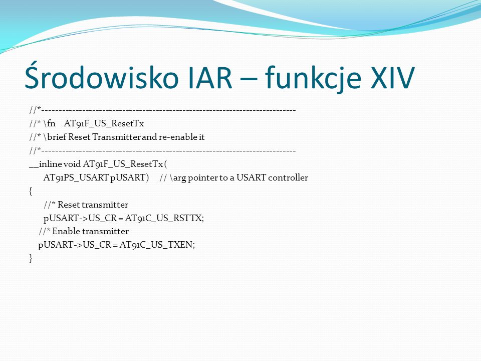 Środowisko IAR – funkcje XIV
