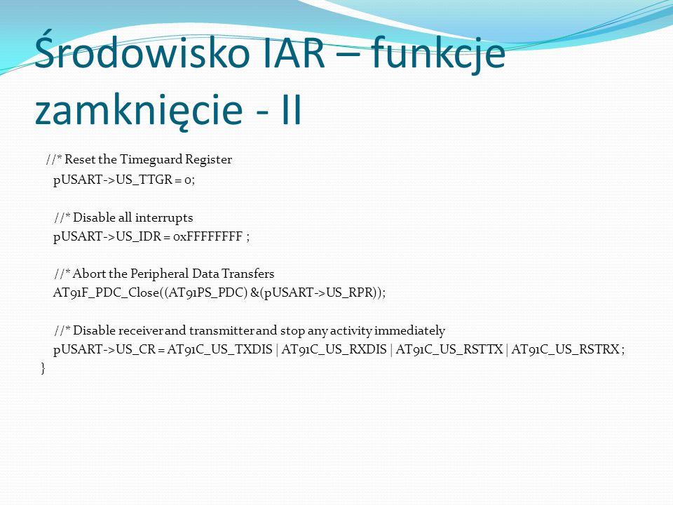 Środowisko IAR – funkcje zamknięcie - II
