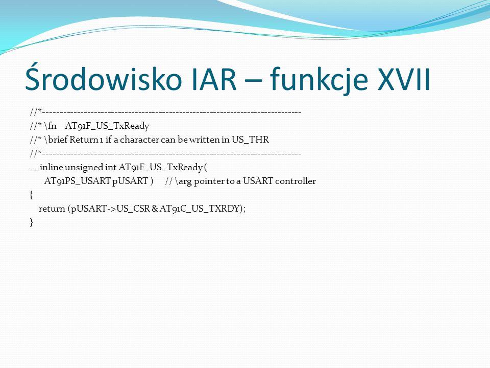 Środowisko IAR – funkcje XVII