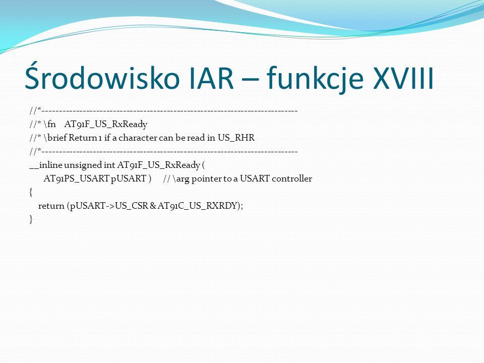 Środowisko IAR – funkcje XVIII