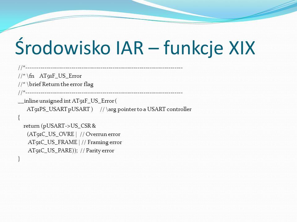 Środowisko IAR – funkcje XIX