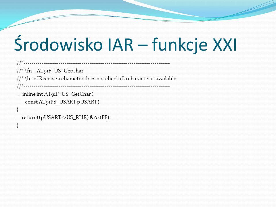 Środowisko IAR – funkcje XXI