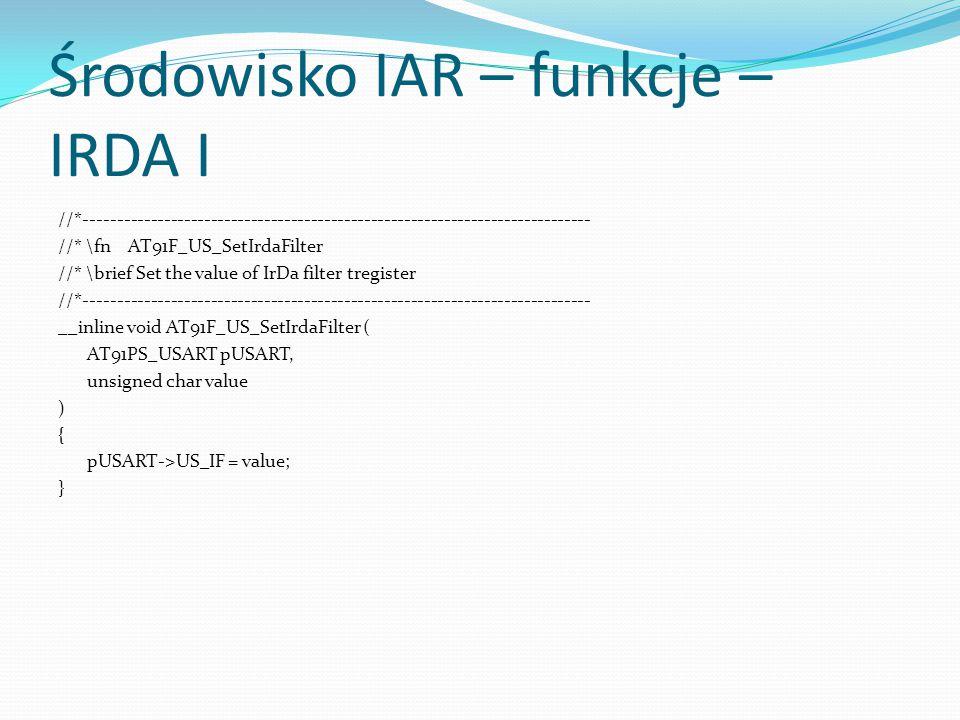 Środowisko IAR – funkcje – IRDA I