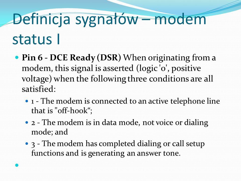 Definicja sygnałów – modem status I