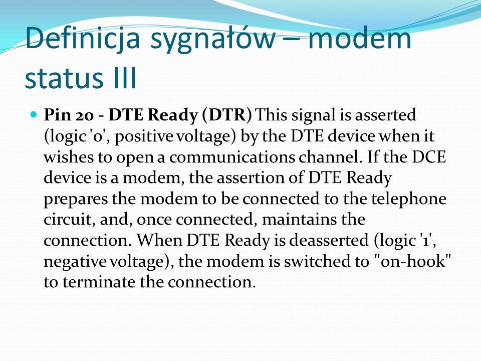 Definicja sygnałów – modem status III