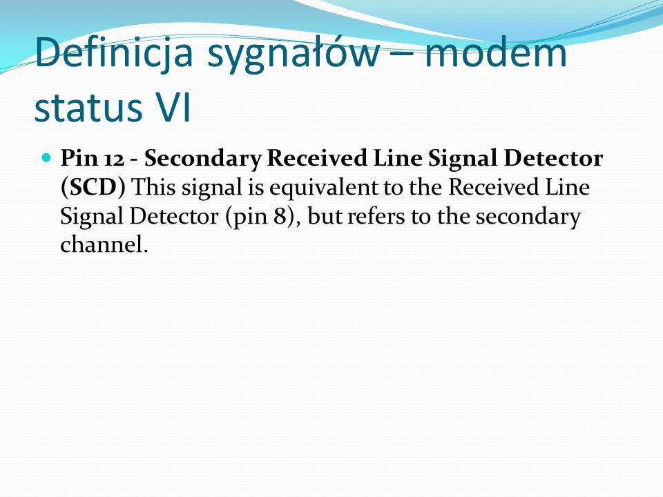 Definicja sygnałów – modem status VI