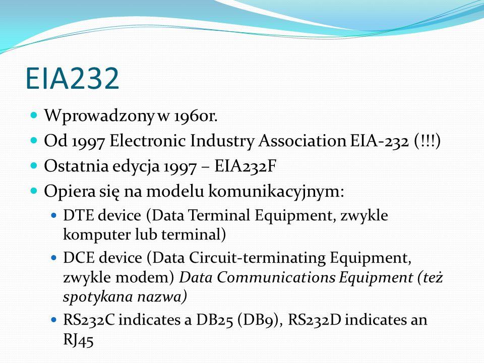 EIA232 Wprowadzony w 1960r. Od 1997 Electronic Industry Association EIA-232 (!!!) Ostatnia edycja 1997 – EIA232F.