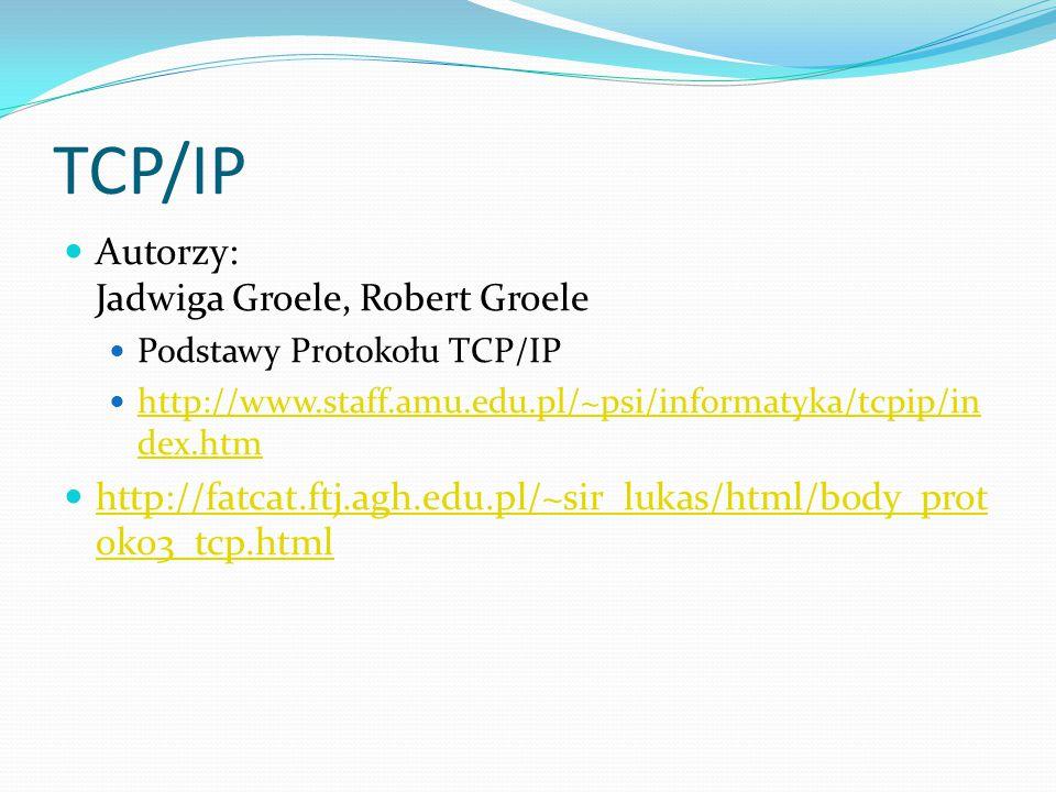 TCP/IP Autorzy: Jadwiga Groele, Robert Groele