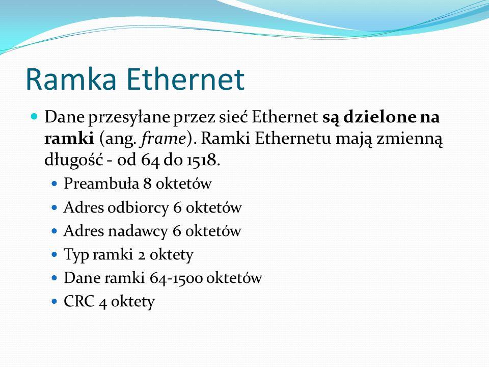 Ramka Ethernet Dane przesyłane przez sieć Ethernet są dzielone na ramki (ang. frame). Ramki Ethernetu mają zmienną długość - od 64 do 1518.