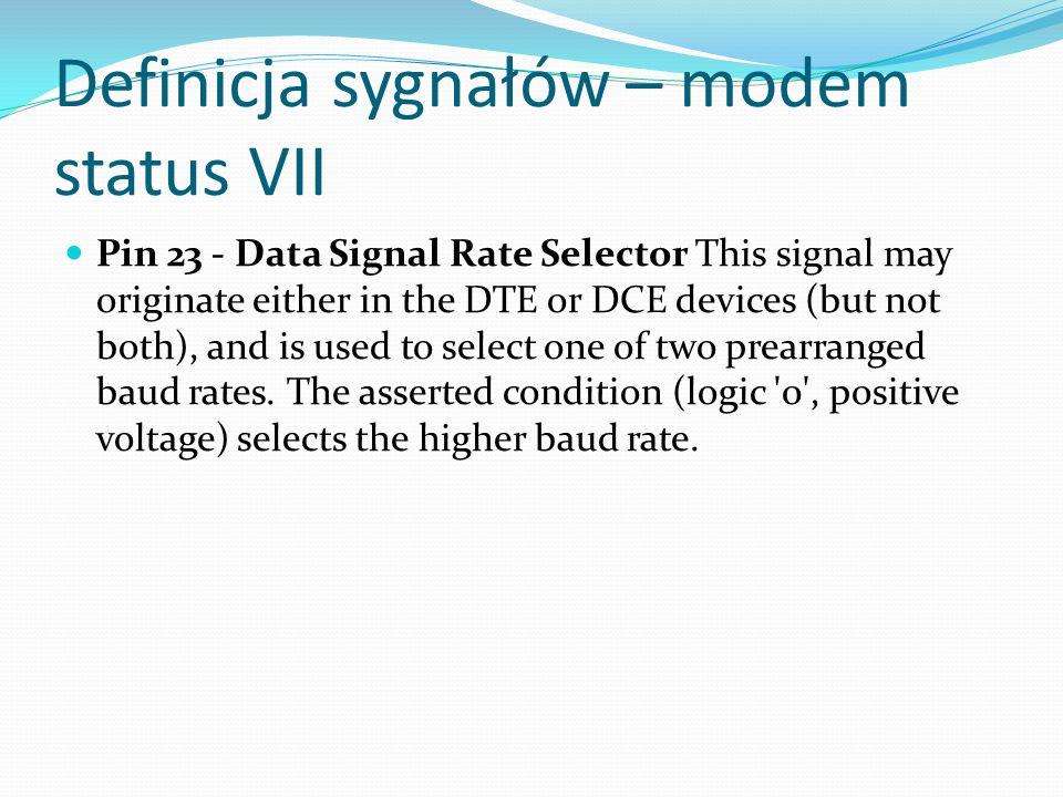 Definicja sygnałów – modem status VII