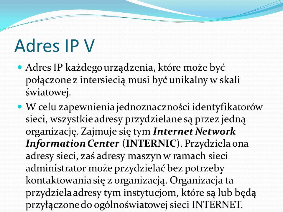 Adres IP V Adres IP każdego urządzenia, które może być połączone z intersiecią musi być unikalny w skali światowej.