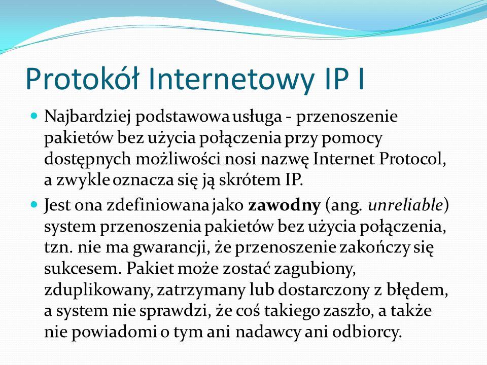 Protokół Internetowy IP I