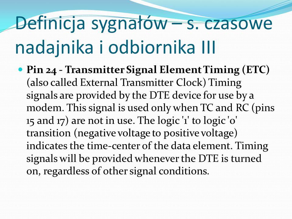 Definicja sygnałów – s. czasowe nadajnika i odbiornika III