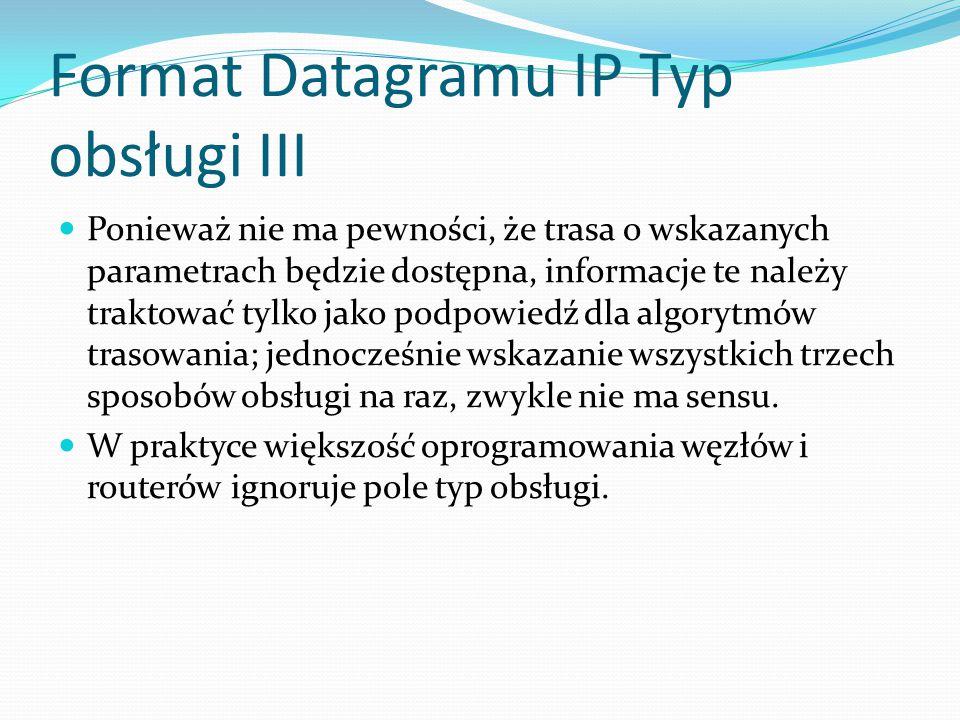 Format Datagramu IP Typ obsługi III