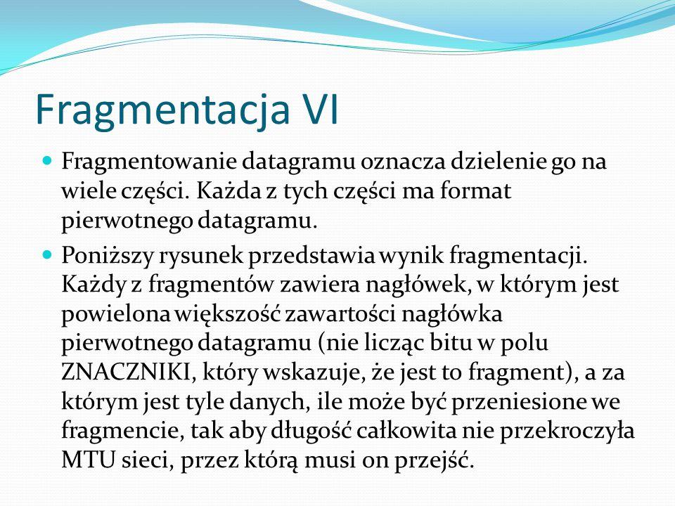 Fragmentacja VI Fragmentowanie datagramu oznacza dzielenie go na wiele części. Każda z tych części ma format pierwotnego datagramu.