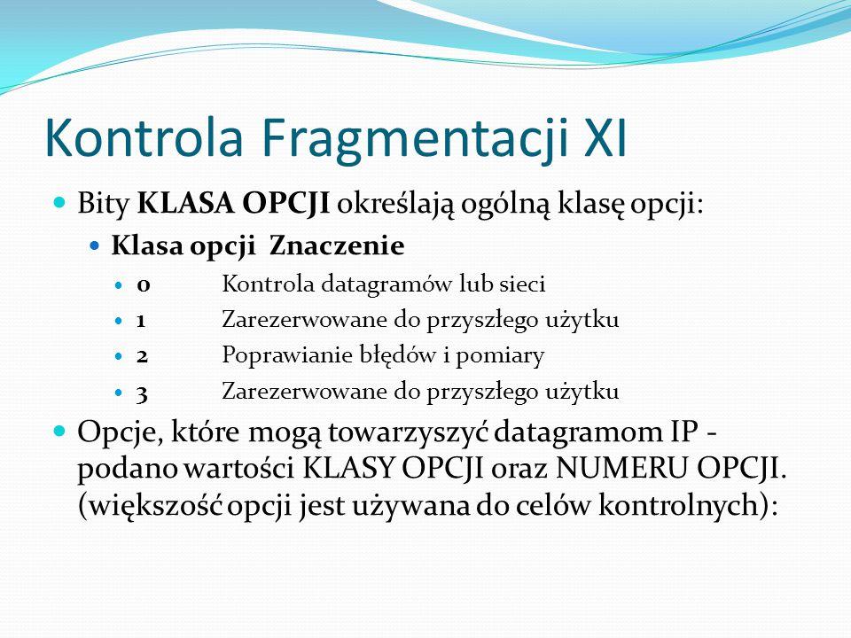 Kontrola Fragmentacji XI