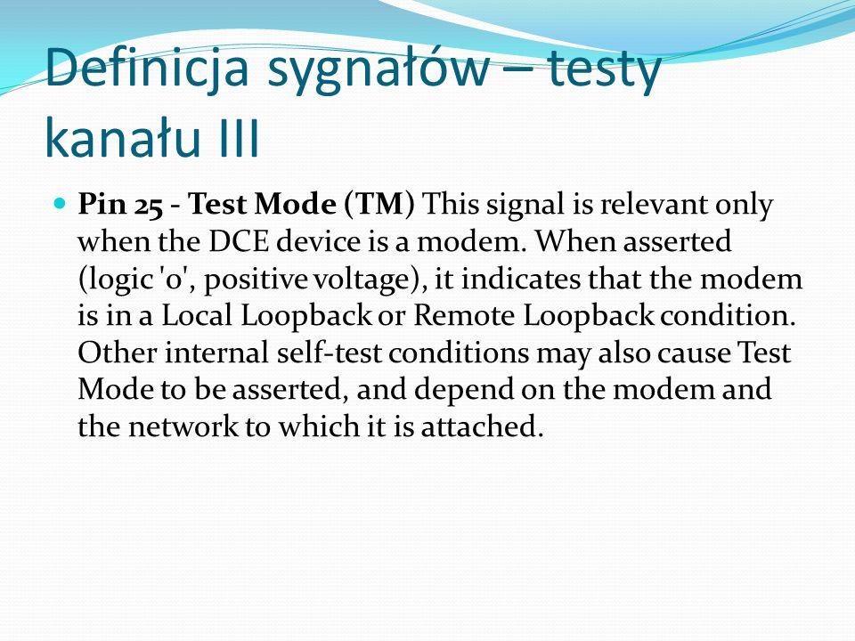 Definicja sygnałów – testy kanału III