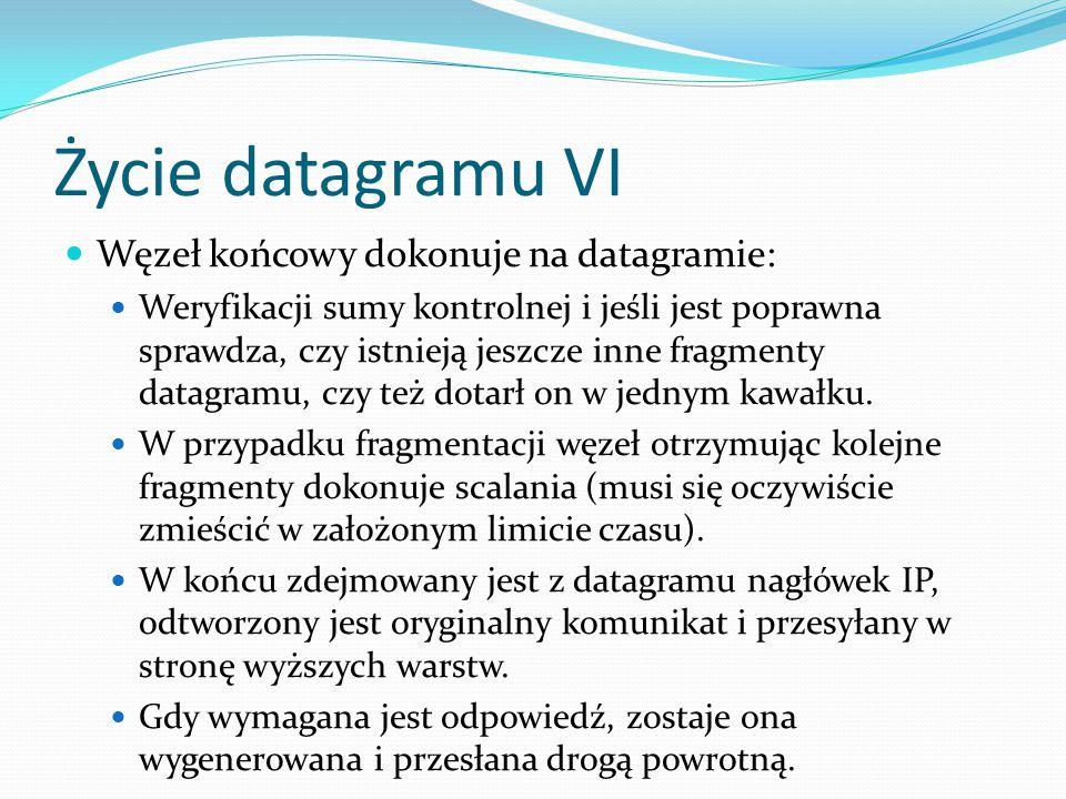 Życie datagramu VI Węzeł końcowy dokonuje na datagramie: