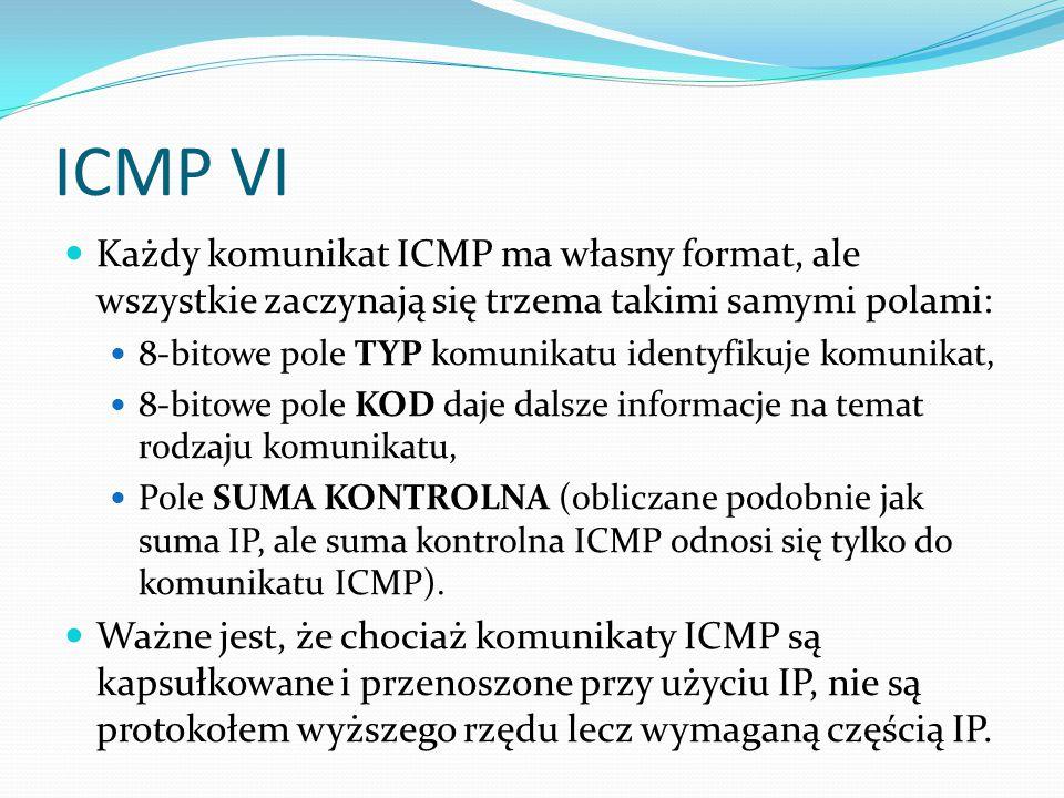 ICMP VI Każdy komunikat ICMP ma własny format, ale wszystkie zaczynają się trzema takimi samymi polami:
