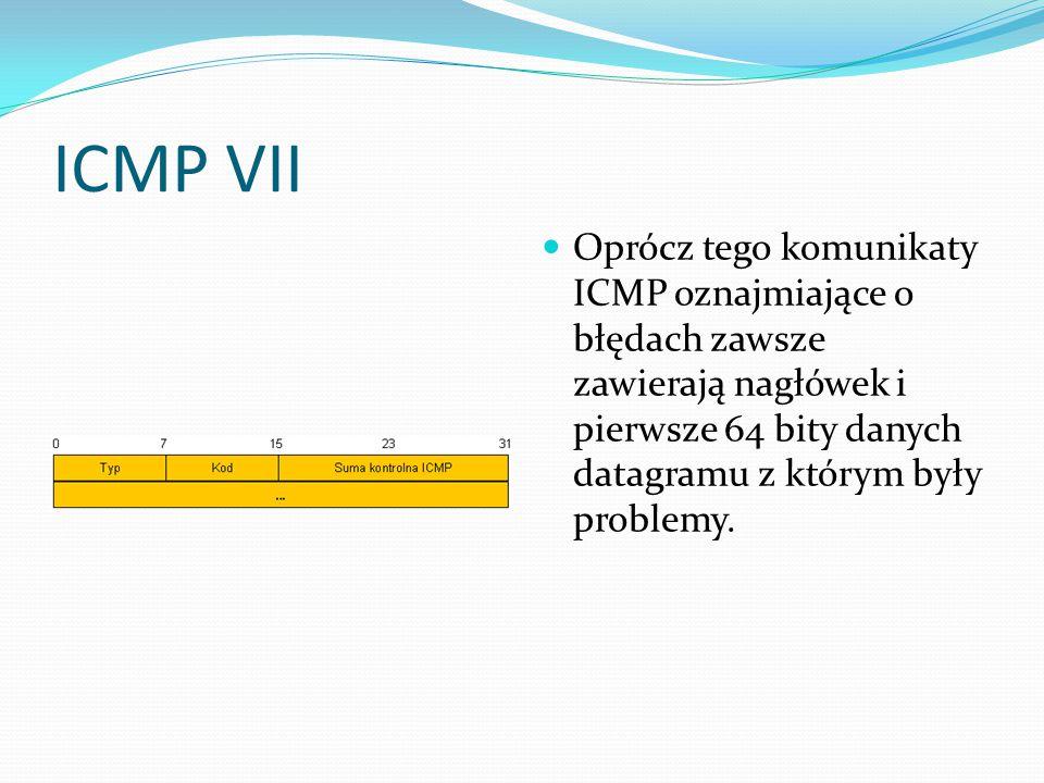 ICMP VII Oprócz tego komunikaty ICMP oznajmiające o błędach zawsze zawierają nagłówek i pierwsze 64 bity danych datagramu z którym były problemy.