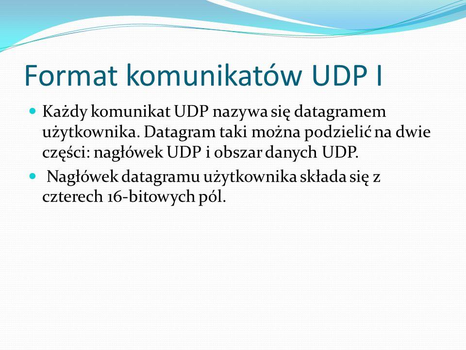 Format komunikatów UDP I