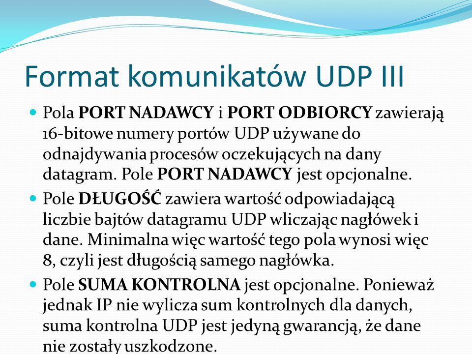 Format komunikatów UDP III