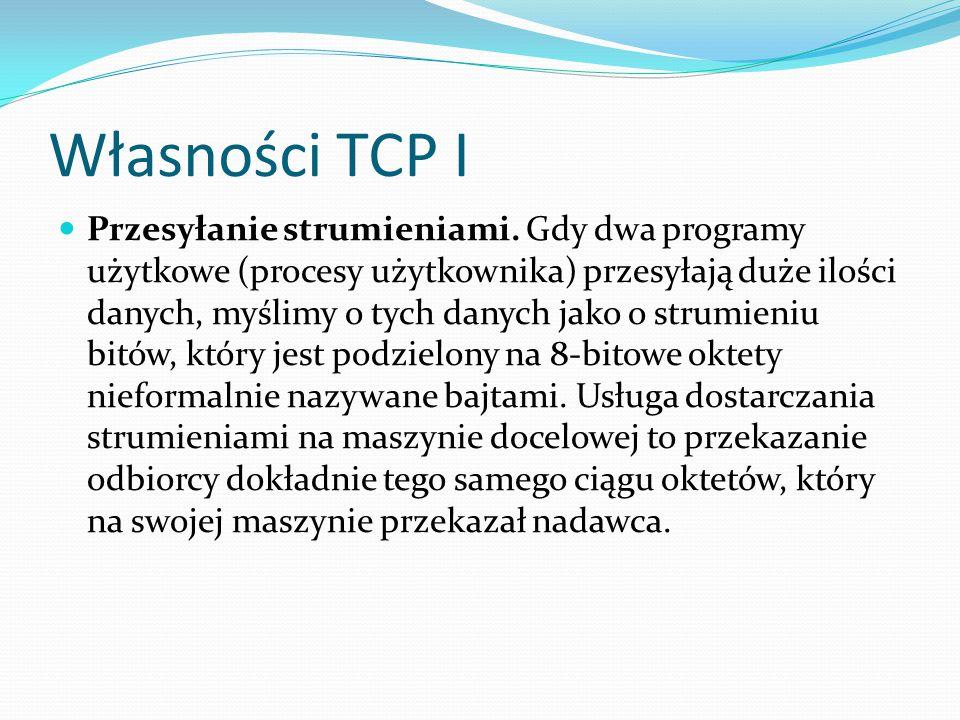 Własności TCP I