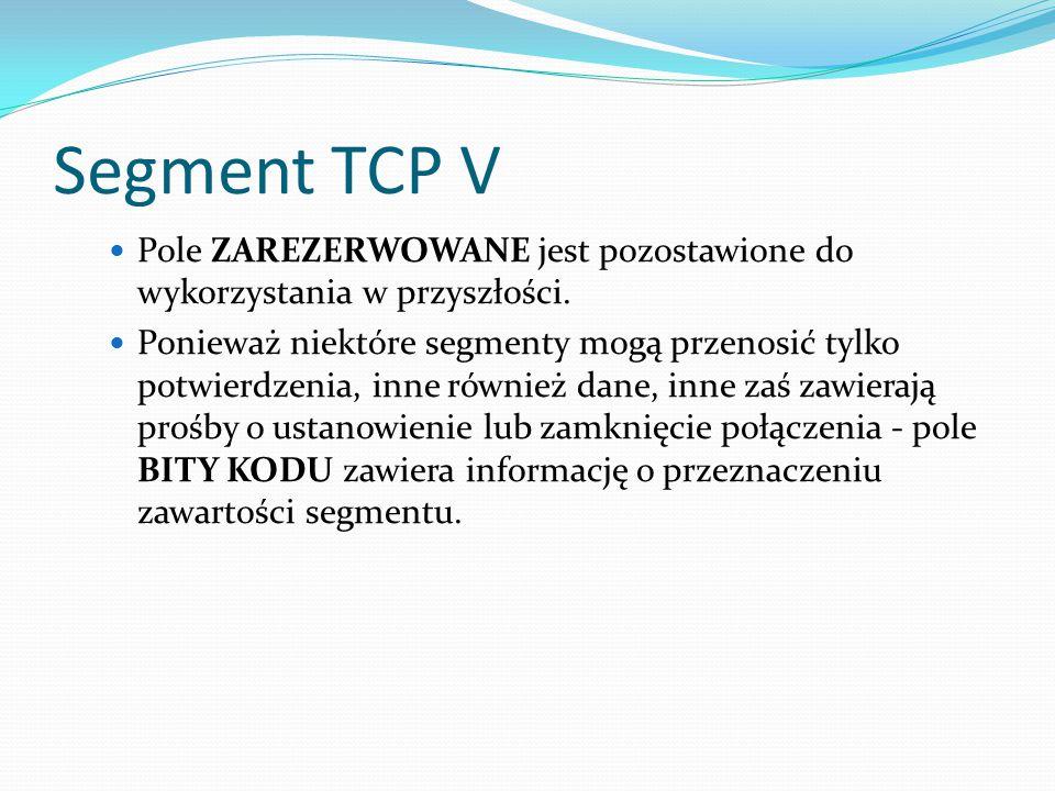 Segment TCP V Pole ZAREZERWOWANE jest pozostawione do wykorzystania w przyszłości.