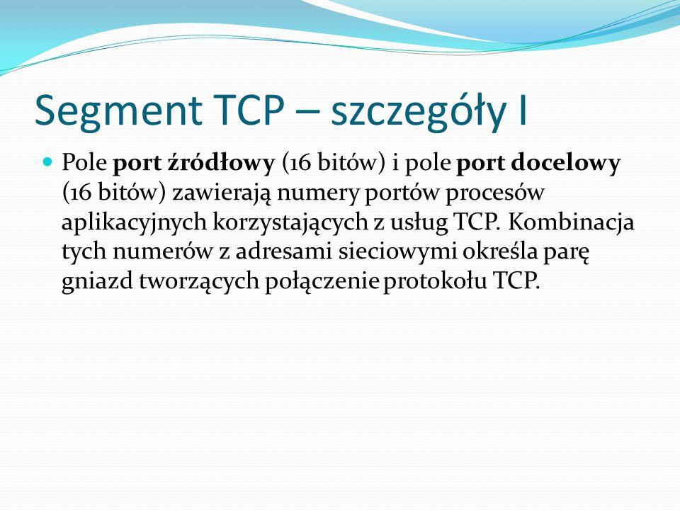 Segment TCP – szczegóły I