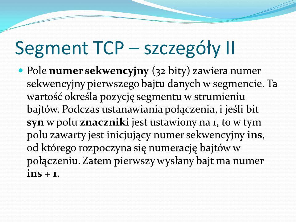 Segment TCP – szczegóły II