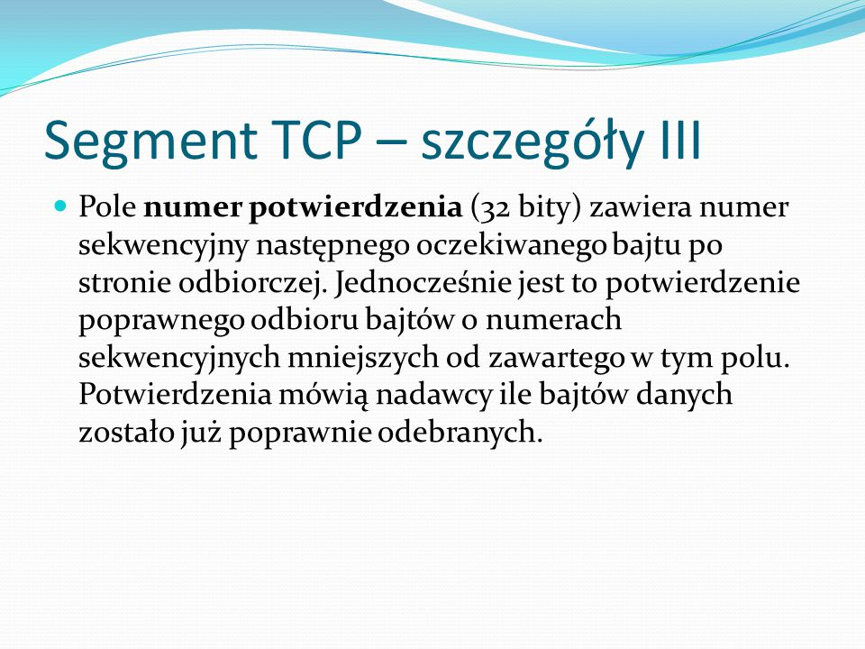 Segment TCP – szczegóły III
