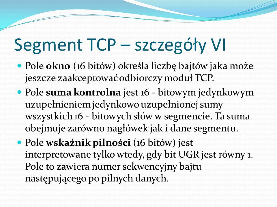 Segment TCP – szczegóły VI