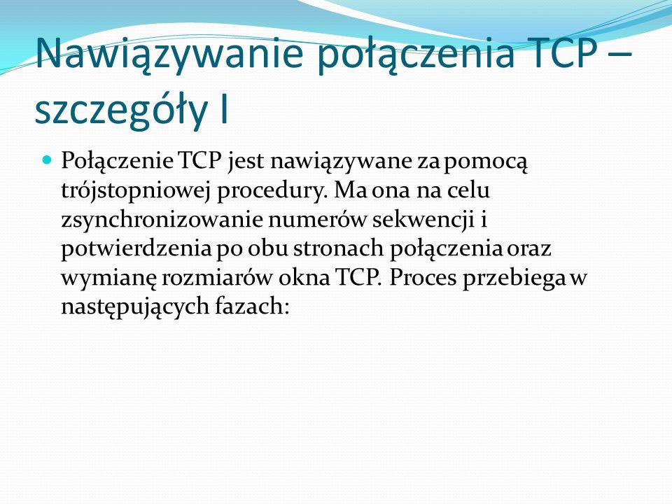 Nawiązywanie połączenia TCP – szczegóły I