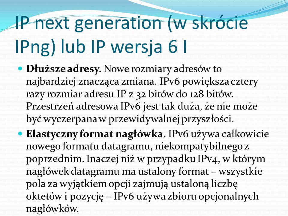 IP next generation (w skrócie IPng) lub IP wersja 6 I