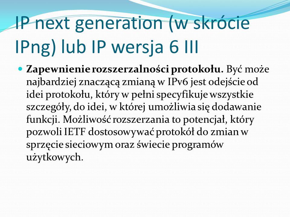 IP next generation (w skrócie IPng) lub IP wersja 6 III