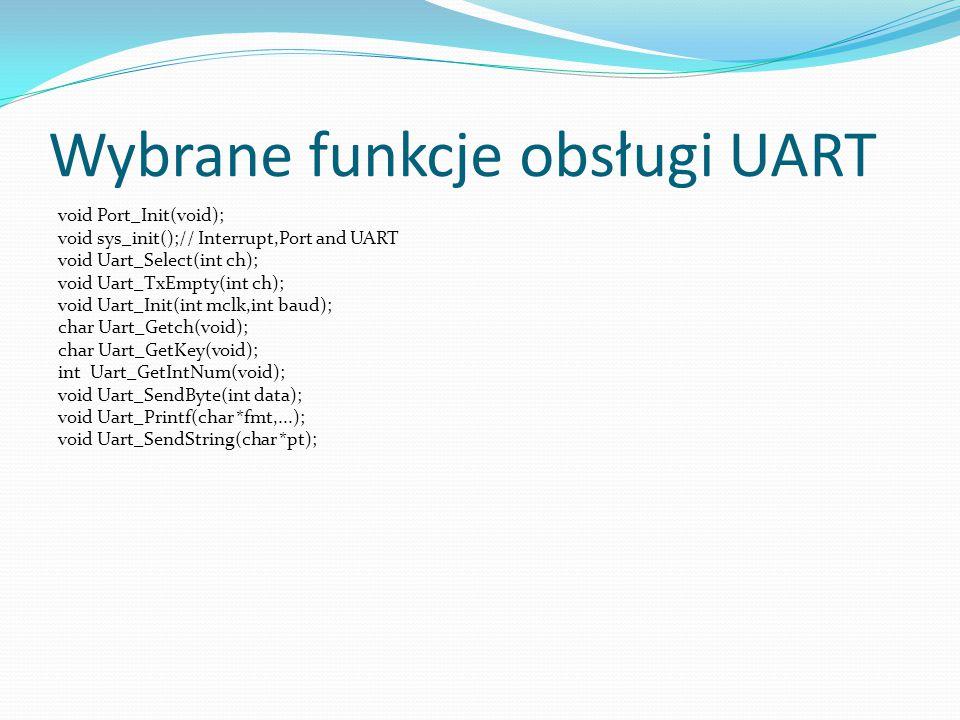 Wybrane funkcje obsługi UART