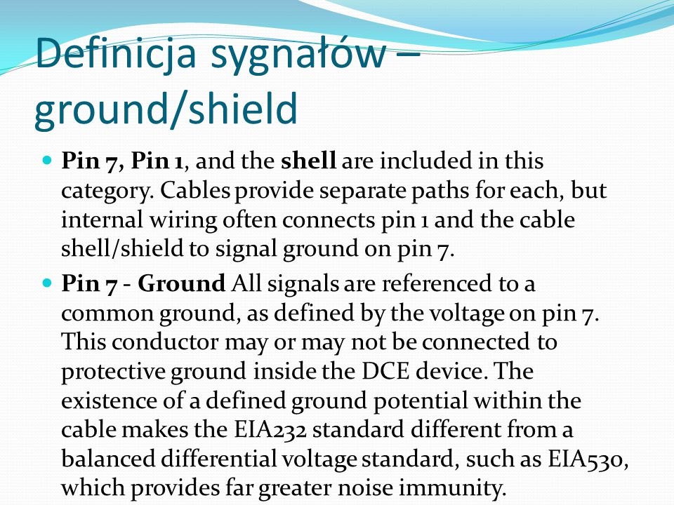 Definicja sygnałów – ground/shield