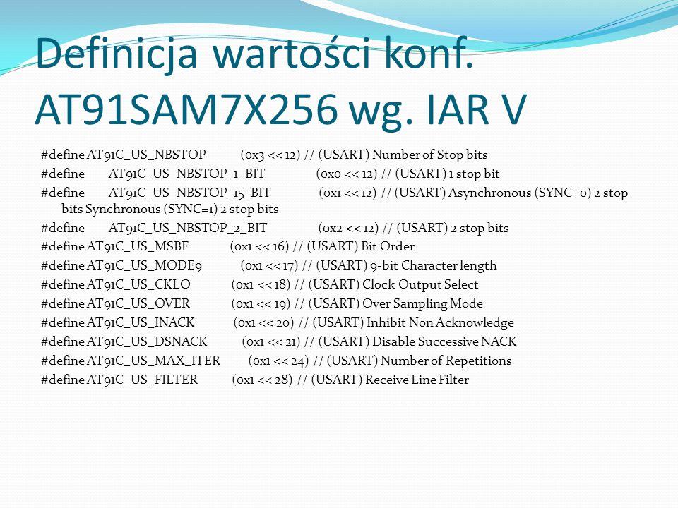 Definicja wartości konf. AT91SAM7X256 wg. IAR V