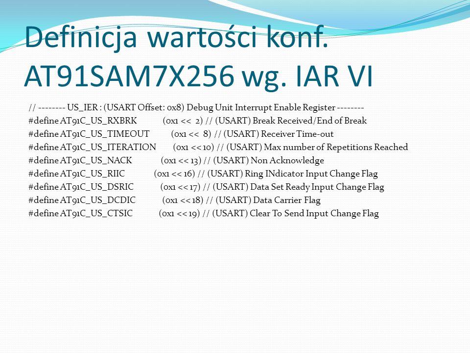 Definicja wartości konf. AT91SAM7X256 wg. IAR VI