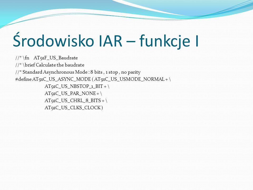 Środowisko IAR – funkcje I