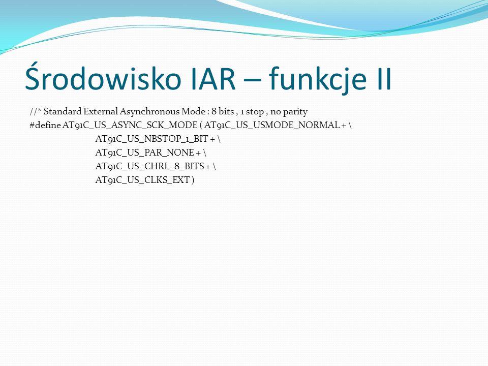 Środowisko IAR – funkcje II