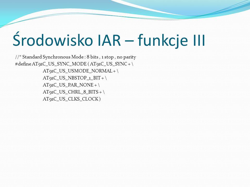 Środowisko IAR – funkcje III