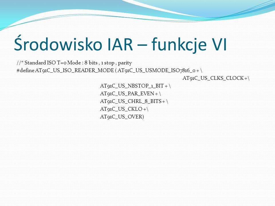 Środowisko IAR – funkcje VI