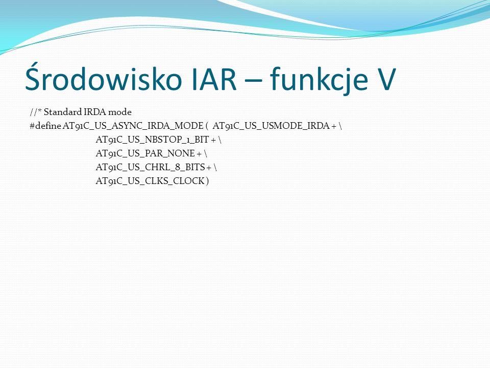 Środowisko IAR – funkcje V