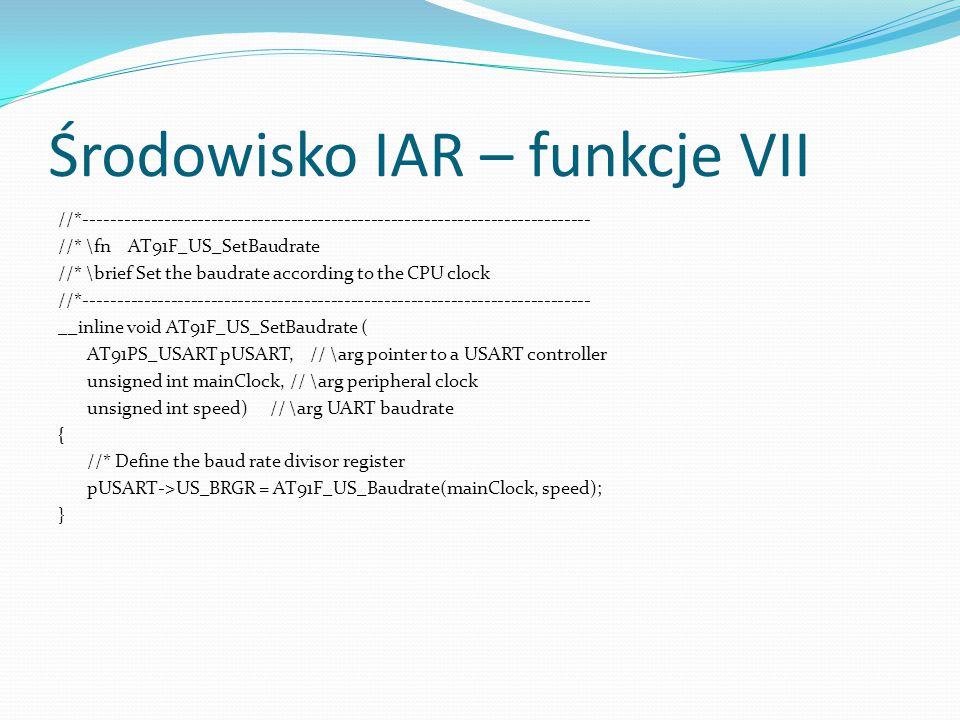 Środowisko IAR – funkcje VII