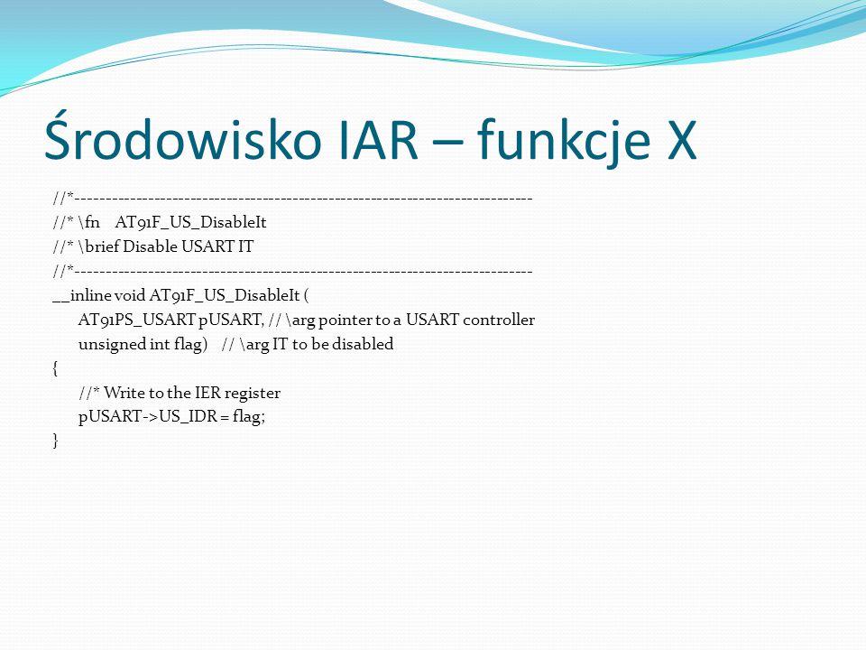 Środowisko IAR – funkcje X