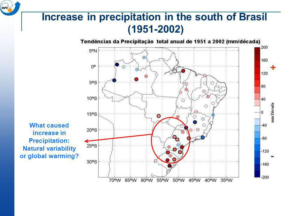 Increase in precipitation in the south of Brasil (1951-2002)